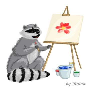 The Painting Raccoon by Emeramice