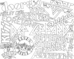 Favorite Bands Collage- Outline by MackCat