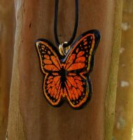 Fused Glass Monarch Pendant 2 by FusedElegance