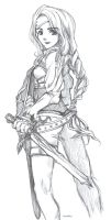 Female Knight Pen Sketch by lucidsky