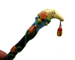 Mr. Drippy polymer clay pen (part) by Brisbykins