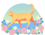 Cat and Flowers by Valhelos