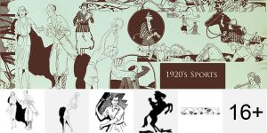 1920s Sport Photoshop Brushes by Designslots