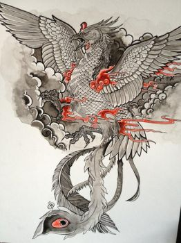 Phoenix tattoo design by Unmei-Wo-Hayamete