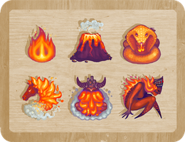 chess pieces - fire theme by BadgersBakery