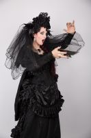 Stock  - Gothic woman with bowl surprised by S-T-A-R-gazer