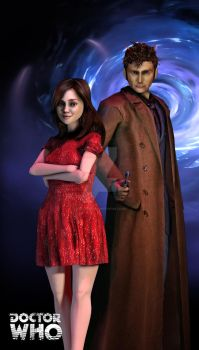 3d Doctor Who Tenth Doctor and Clara by silentrepose