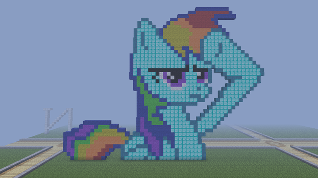 Minecraft pixel art : Rainbow Dash Salute by Miky98
