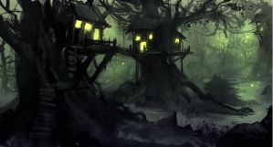 Treehouses in the marshland speedpaint by FORCII