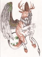 Elaphysis--Deer Dragon Hybrid by Miss-Cellaneous23