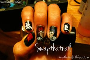 Death Note Nail Art by swapthat