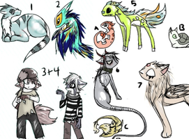 10 FREE ADOPTABLES (OPEN) by steam--demon