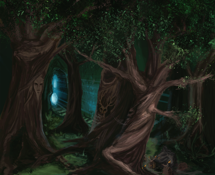 cernunnos forest of a great trees by overflowid