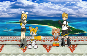 Rin, Tail, Len, and Cream at Ocean Palace by MoonwolfYouthOtaku