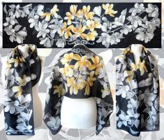 Silver and Gold Magnolia - black scarf by MinkuLul