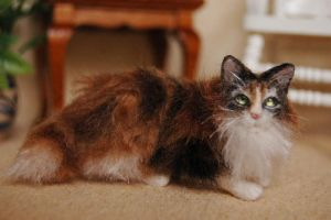 Bella- 1/12 scale miniature felted calico cat by carine-cote