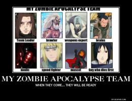 My Zombie Apocalypse Team. by ThisOneNarutoFreak