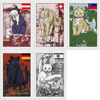 Nekotalia stamps - Germanic cats by The-Manticore