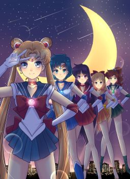 sailor scouts wallpaper by Invader-celes