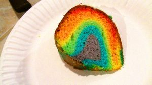 Rainbow cake slice by SillyEwe