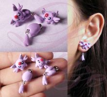 Espeon earrings by LayzeMichelle