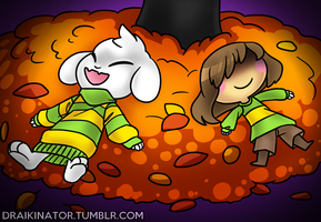 Chara and Asriel by Draikinator