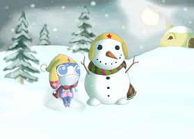 Zeroro and the Snowman by CassedyDuel