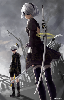 Nier Automata: 2B and 9S by akifei