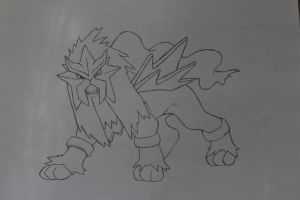 Entei Pokemon - ClaCloud - Tradional Art by ClaCloud