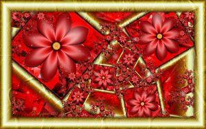 Red Flowers in Gold Frames by wolfepaw