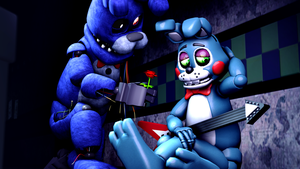 A rose may make you happier-Bonnie and Toy Bonnie by TalonDang
