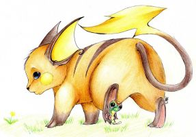 .:Raichu...and caterpie xD:. by FoxyDK