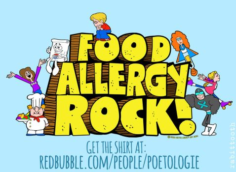 Food Allergy Rock! tee shirt design by Rabittooth