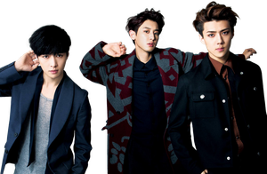 Lay, Chanyeol and Sehun (EXO) [PNG Render] by ByMadHatter