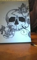 Skull and Roses by MeowImAvery