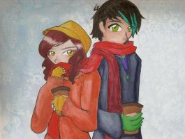Leo and Avery scarf sharing by XcoconutxpineappleX