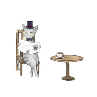 Cat reading a newspaper by M03PS