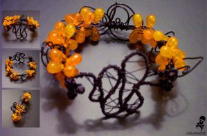 Orange Twig Bracelet by fetalcryogenics