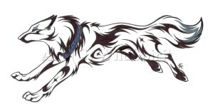 Running Wolf Tattoo Commission by WildSpiritWolf