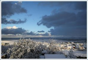 snow and blue sky bideford bay by GeaAusten