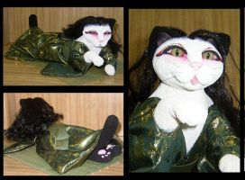 Midori the Cat Geisha by crokittycats