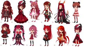 Crimson free adoptable batch -CLOSED- by DreamSelfAdoptables