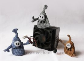 Crochet Robot Finger Puppets by bicyclegasoline