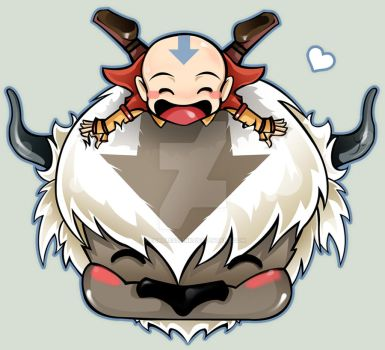 Avatar Chibi Anng and Appa by HeartlessLink