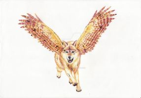 Winged Wolf III by Daimondmask
