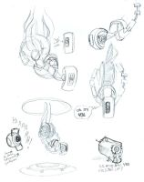 GLaDOS sketches by Allysdelta