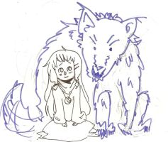 girl and wolf by qesito