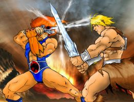 Lion-O vs Heman WIP Colored by Kradath