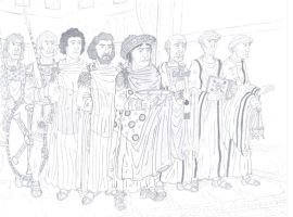 Justinian and his court (From Ravenna's mosaic) by Oznerol-1516