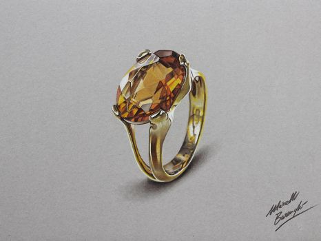 Yellow topaz ring DRAWING by marcellobarenghi